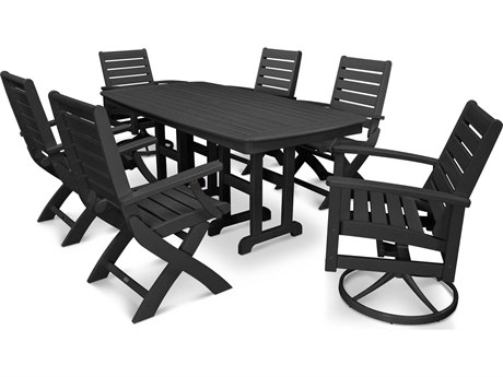 POLYWOOD® Signature Recycled Plastic 7 Piece Swivel Dining Set