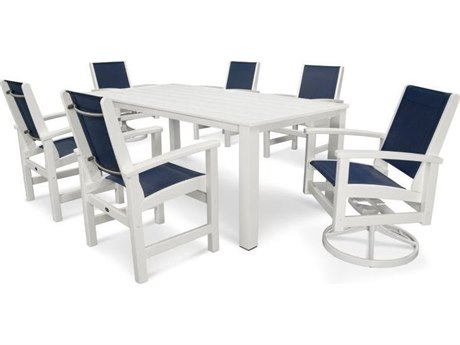 POLYWOOD® Coastal Recycled Plastic 7-Piece Harvest Dining Set