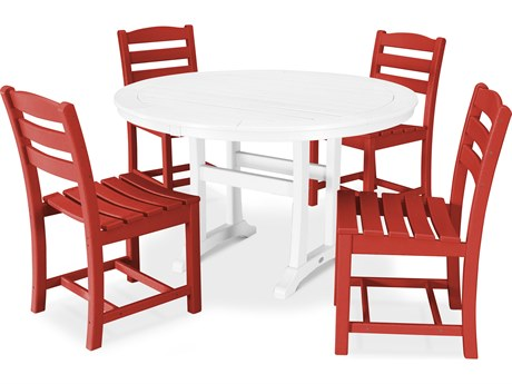 POLYWOOD® La Casa Cafe Recycled Plastic 5 Piece Dining Side Set PatioLiving