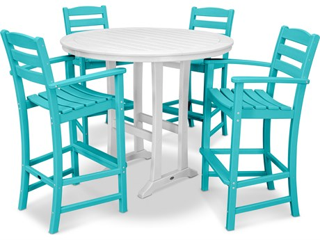 POLYWOOD® La Casa Recycled Plastic 5 Piece Bar Set PatioLiving