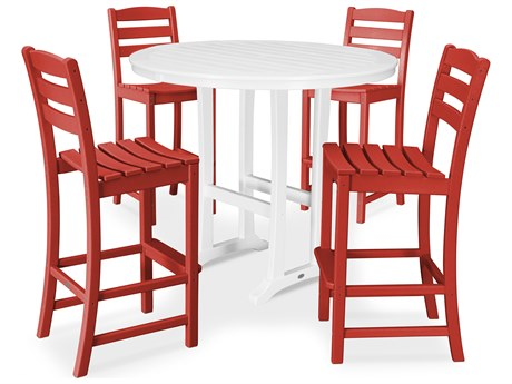 POLYWOOD® La Casa Recycled Plastic 5 Piece Bar Side Set