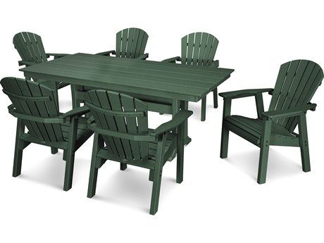 POLYWOOD® Seashell Recycled Plastic 7 Piece Dining Set