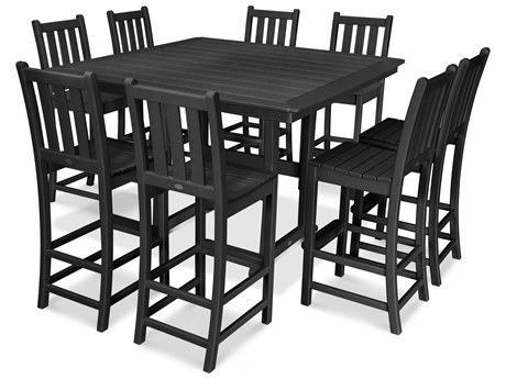 POLYWOOD® Nautical Recycled Plastic 9 Piece Trestle Bar Set