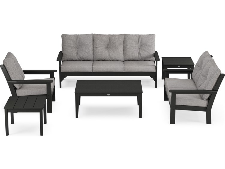 POLYWOOD® Vineyard Recycled Plastic 6 Piece Deep Seating Lounge Set PatioLiving