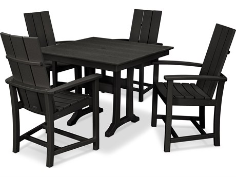 POLYWOOD® Modern Recycled Plastic 5 Piece Farmhouse Dining Set PatioLiving
