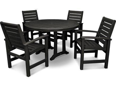 POLYWOOD® Signature Recycled Plastic 5 Piece Nautical Trestle Dining Set