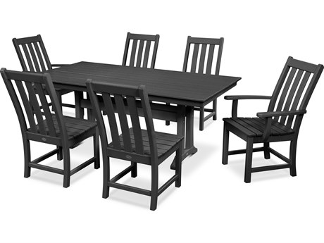 POLYWOOD® Vineyard Recycled Plastic 5 Piece Farmhouse Dining Set