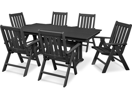 POLYWOOD® Vineyard Recycled Plastic 7 Piece Farmhouse Folding Dining Set