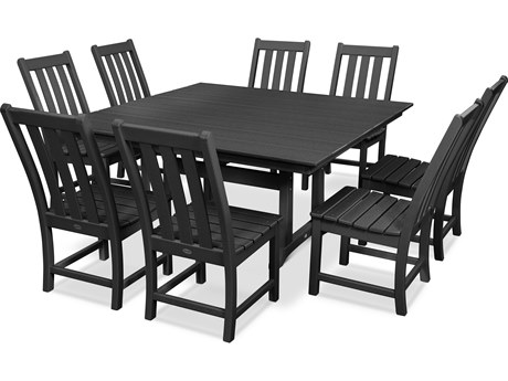 POLYWOOD® Vineyard Recycled Plastic 9 Piece Farmhouse Dining Set