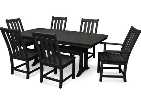 POLYWOOD® Vineyard Recycled Plastic 7 Piece Nautical Trestle Dining Set