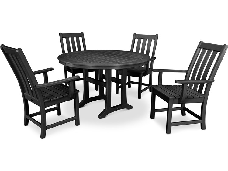 POLYWOOD® Vineyard Recycled Plastic 5 Piece Nautical Trestle Dining Set PatioLiving