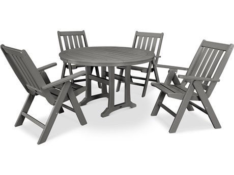 POLYWOOD® Vineyard Recycled Plastic 5 Piece Nautical Trestle Folding Dining Set