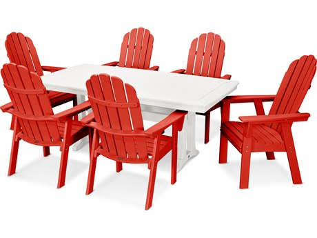 POLYWOOD® Vineyard Adirondack 7-Piece Nautical Trestle Dining Set