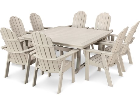 POLYWOOD® Vineyard Adirondack 9-Piece Nautical Trestle Dining Set