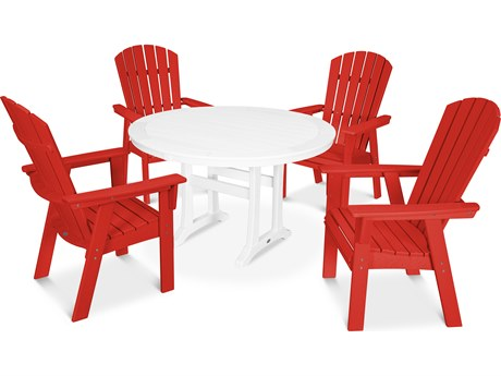 POLYWOOD® Nautical Recycled Plastic 5 Piece Round Trestle Dining Set