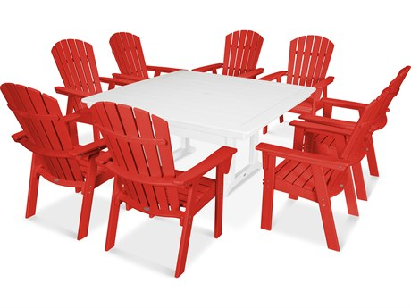 POLYWOOD® Nautical Recycled Plastic 9 Piece Trestle Dining Set