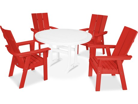 POLYWOOD® Modern Recycled Plastic 5 Piece Nautical Trestle Dining Set PatioLiving