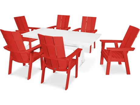 POLYWOOD® Modern Recycled Plastic 7 Piece Farmhouse Dining Set PatioLiving