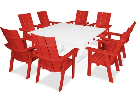 POLYWOOD® Modern Recycled Plastic 9 Piece Farmhouse Dining Set PatioLiving