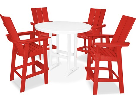 POLYWOOD® Modern Recycled Plastic 5 Piece Nautical Trestle Bar Set PatioLiving