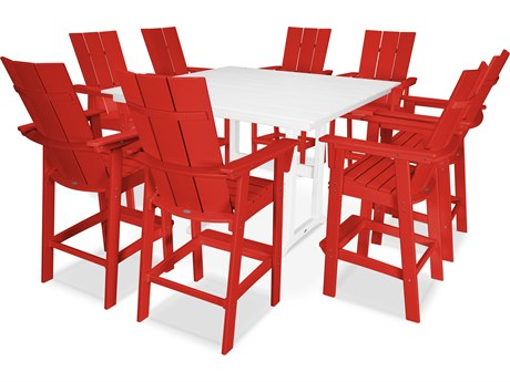 POLYWOOD® Modern Recycled Plastic 5 Piece Farmhouse Bar Set PatioLiving