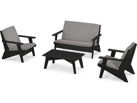 POLYWOOD® Riviera Modern Recycled Plastic 4 Piece Lounge Set
