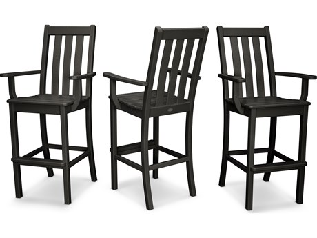 POLYWOOD® Vineyard Recycled Plastic 3 Pack Bar Arm Chair