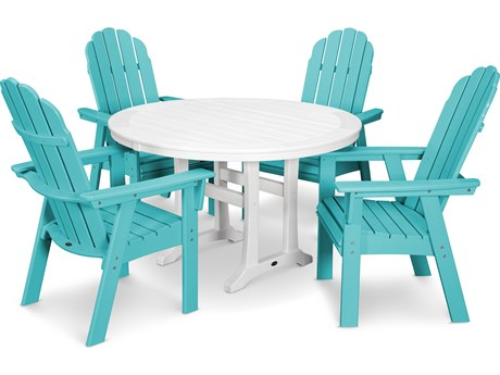 POLYWOOD® Vineyard Recycled Plastic 5 Nautical Trestle Dining Set