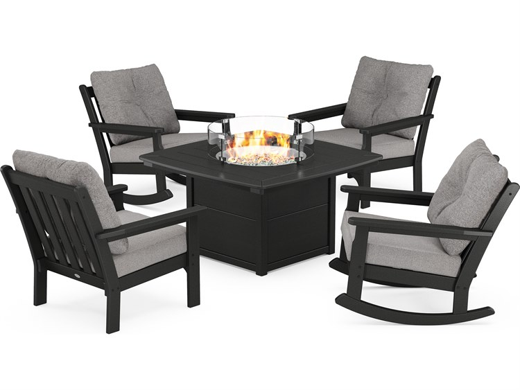 POLYWOOD® Vineyard Recycled Plastic 5-Piece Deep Seating Firepit Lounge Set PatioLiving