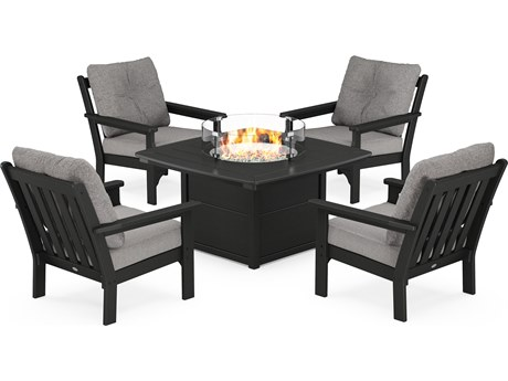 POLYWOOD® Vineyard Recycled Plastic 5 Piece Firepit Lounge Set