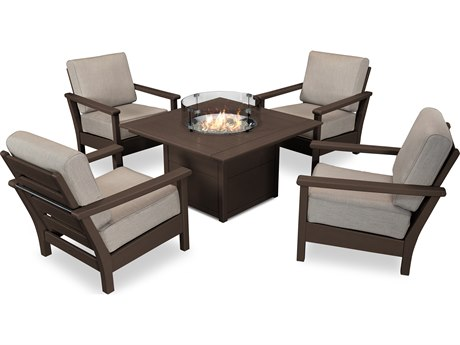 POLYWOOD® Harbpur Recycled Plastic 5 Piece Firepit Lounge Set