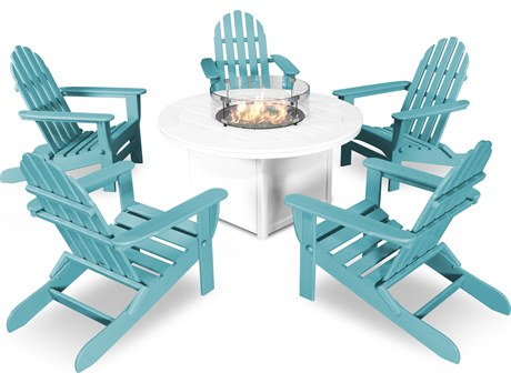 POLYWOOD  Classic Folding Adirondack 6-Piece Conversation Set with Fire Pit Table PatioLiving
