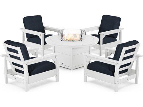 POLYWOOD® Club Recycled Plastic 5 Piece Firepit Lounge Set PatioLiving