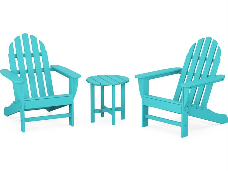 POLYWOOD® Classic Adirondack Recycled Plastic 3-Piece Lounge Set PatioLiving