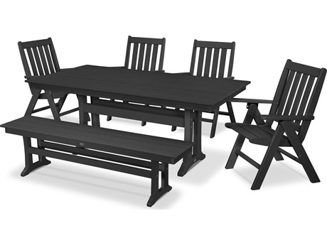 POLYWOOD® Vineyard Recycled Plastic 6 Piece Farmhouse Folding Dining Set with Bench