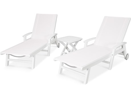 POLYWOOD® Coastal Recycled Plastic 3 Piece Wheeled Chaise Lounge Set
