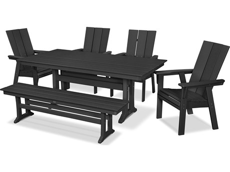 POLYWOOD® Modern Recycled Plastic 6 Piece Farmhouse Dining Set with Bench PatioLiving