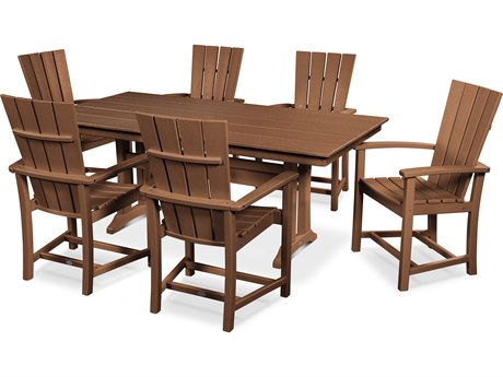 POLYWOOD® Qualtro Recycled Plastic 7 Piece Farmhouse Dining Set