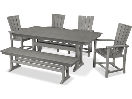 POLYWOOD® Qualtro Recycled Plastic 6 Piece Farmhouse Dining Set with Bench