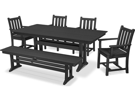 POLYWOOD® Traditional Recycled Plastic 6 Piece Farmhouse Dining Set with Bench