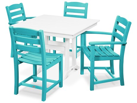 POLYWOOD® La Casa Recycled Plastic 5 Piece Farmhouse Dining Set PatioLiving