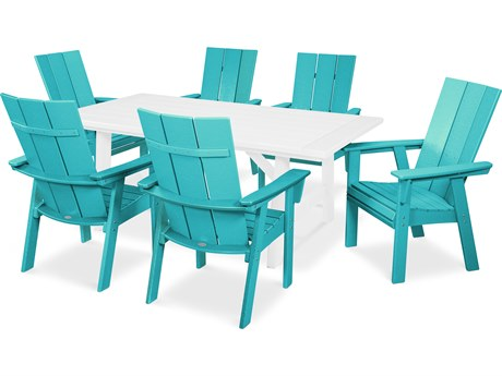 POLYWOOD® Modern Recycled Plastic 7 Piece Rustic Farmhouse Dining Set PatioLiving