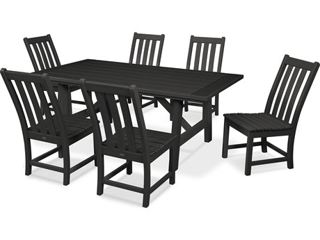 POLYWOOD® Vineyard Recycled Plastic 7 Piece Rustic Farmhouse Dining Set