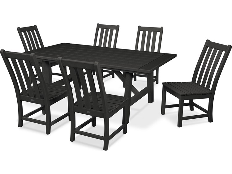POLYWOOD® Vineyard Recycled Plastic 7 Piece Rustic Farmhouse Dining Set PatioLiving