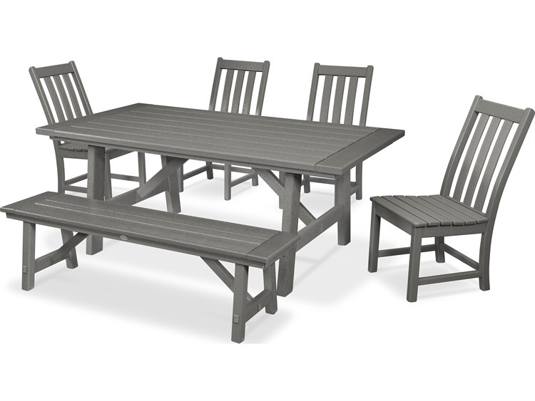 POLYWOOD® Vineyard Recycled Plastic 6 Piece Rustic Farmhouse Dining Set with Bench