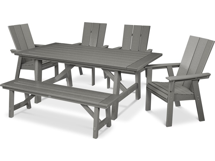 POLYWOOD® Modern Recycled Plastic 6 Piece Rustic Farmhouse Dining Set with Bench PatioLiving