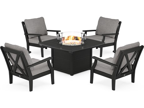 POLYWOOD® Braxton Recycled Plastic 5 Piece Deep Seating Firepit Lounge Set PatioLiving
