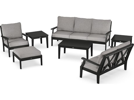 POLYWOOD® Braxton Recycled Plastic 7 Piece Deep Seating Lounge Set