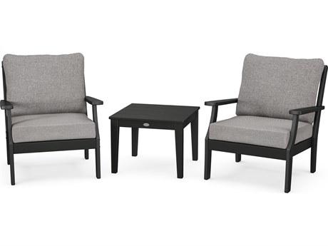 POLYWOOD® Braxton Recycled Plastic 3 Piece Deep Seating Lounge Set