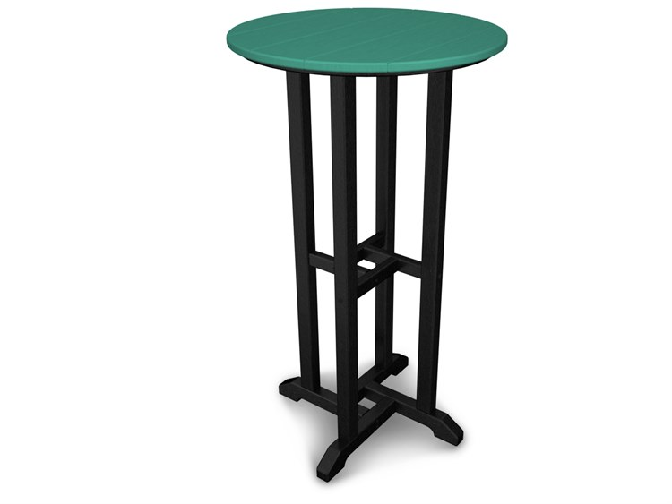 POLYWOOD® Contempo Recycled Plastic 24''Wide Round Bar Height Table PatioLiving